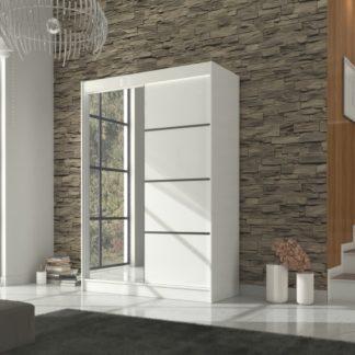 Bílá šatní skříň s posuvnými dveřmi a zrcadlem šířka 150 cm