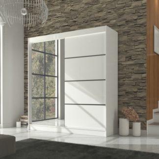 Bílá prostorná  šatní skříň 200 cm