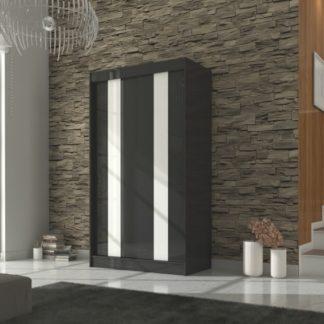 Moderní černá šatní skříň s bílým lakovaným sklem