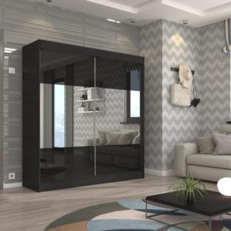 Černá zrcadlová skříň Cork 200 cm
