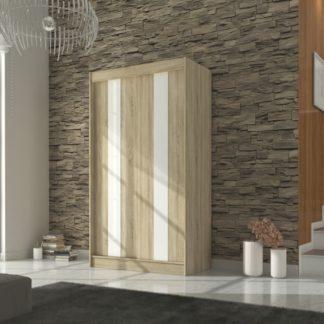 Skříň s posuvnými dveřmi dekor dub sonoma s bílými pruhy