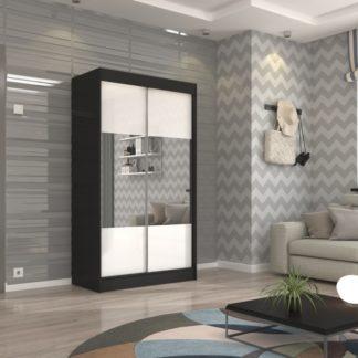 Černo-bílá šatní skříň s velkým zrcadlem 120 cm