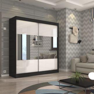 Černá šatní skříň s bílými posuvnými dveřmi a zrcadlem 200 cm