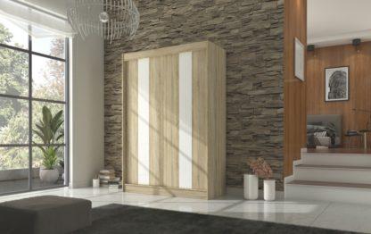 Šatní skříň 150 cm dekor dub sonoma a bílé lakované sklo
