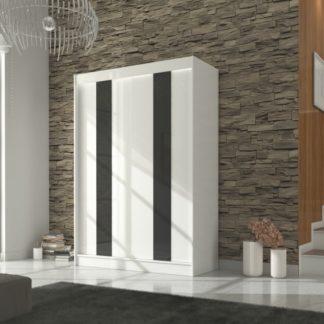 Jednoduchá bílá šatní skříň s černým lakovaným sklem