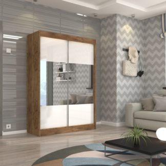 Šatní skříň korpus dub craft bílé zrcadlové dveře 150 cm