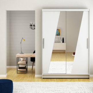 Bílá šatní skříň s designovým zrcadlem 120 cm Sagres