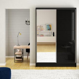 Stylová černá skříň se zrcadlem 120 cm Campo