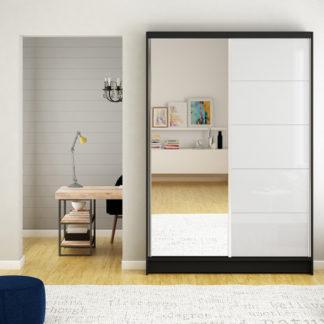 Černá zrcadlová skříň bílé lakované dveře 120 cm Campo