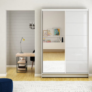 Šatní skříň bílá se zrcadlem 120 cm Campo