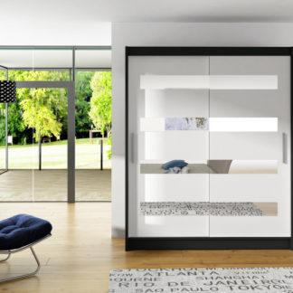 Černo-bílá posuvná skříň Macao 150 cm