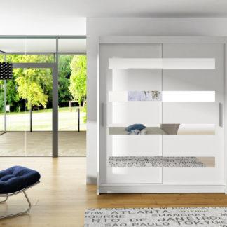 Bílá skříň se zrcadlovými pásy Macao 150 cm