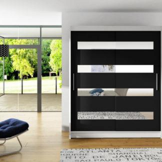 Bílá šatní skříň černé posuvné dveře Macao 150 cm
