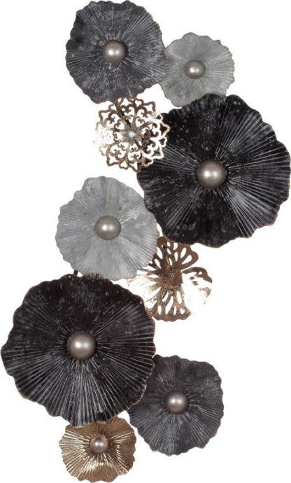 Autronic Kovová nástěnná dekorace s dekorem květin FB-1463